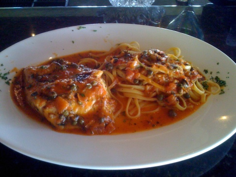 TODAY S SPECIAL AT MARE BLU SEABASS LIBORNES......FRESH FILET OF SEABASS IN OLIVE OIL, BASIL, CAPES, KALAMATA OLIVE, SWEET ONION, WITHE WINE, MARINARA SAUCE AND SIDE OF LINGUINE PASTA......DELICIOUS!!!!!!