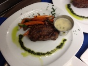 Beef Tenderloin with Gorgonzola sauce. Exceptionally fine.